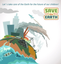 Save the earth big city pollution vector