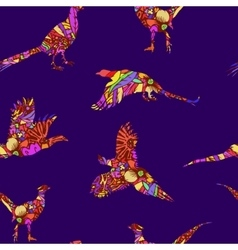 Seamless pattern of bird pheasant vector