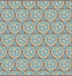 seamless pattern with flower medallions vector image