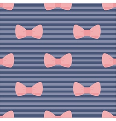 Seamless pink bows on blue pattern vector