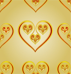 Seamless texture heart vintage gold background vector image