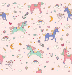 seamless unicorn pink pattern children wallpaper vector image