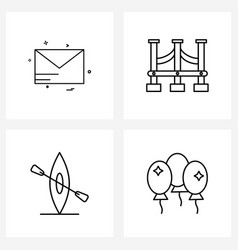Set 4 modern line icons mail transport vector