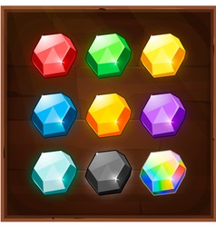 set colorful gems gui elements vector image