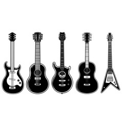 set guitar isolated on white background vector image