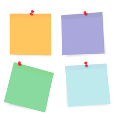 set of color paper sheets with pins isolated on vector image