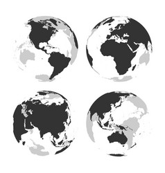 Set of transparent earth globes with grey land vector