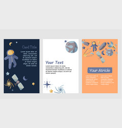 Set open space theme cards kids collection vector