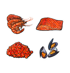 Sketch seafood set isolated vector