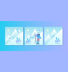 Ski resort poster set vector