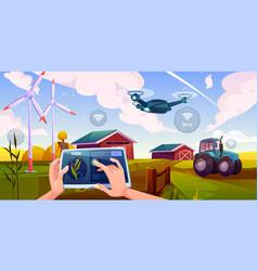 smart farming futuristic technologies in farm vector image