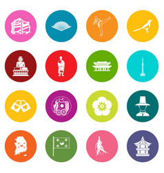 South korea icons many colors set vector