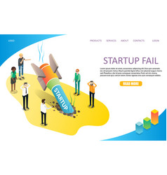 Startup fail landing page website template vector