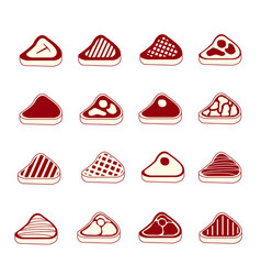 Steak meat icons set vector