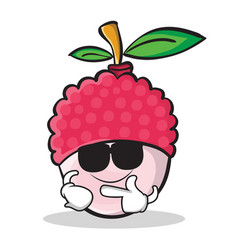 Super cool lychee cartoon character style vector