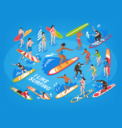 surfing isometric blue background vector image