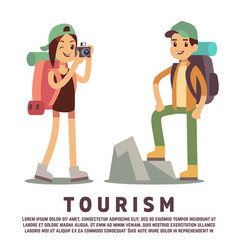 Tourist cartoon characters tourism flat concept vector