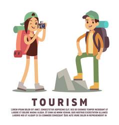 tourist cartoon characters tourism flat concept vector image