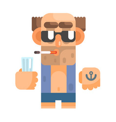 unshaved alcoholic with anchor tattoo and vector image