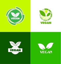 Vegan logo icon badge vector