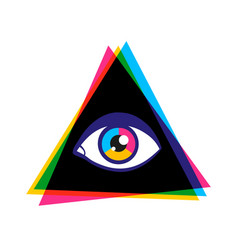 Vintage poster with pyramid and eye vector