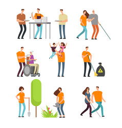 volunteers help people and clean environment vector image