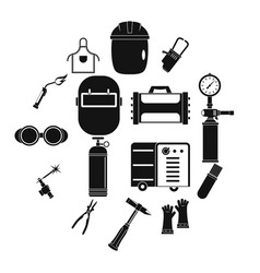 Welding icons set simple style vector