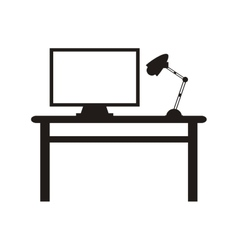 Workplace desk lamp and computer icon vector
