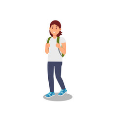 young woman walking with backpackhealthy and vector image