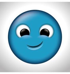 blue emoticon happy design vector image