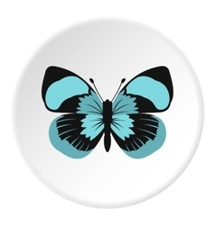 Blue striped butterfly icon flat style vector