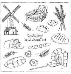 bread hand drawn set vector image vector image