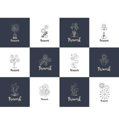 Firework logo design set vector image vector image