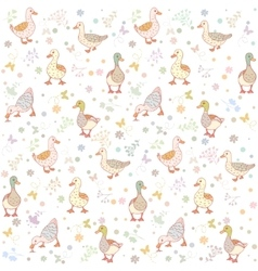 ducks seamless background vector image vector image