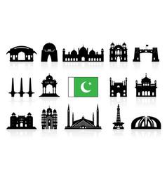 pakistan travel landmarks icon set vector image vector image