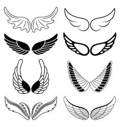 Set of eight black and white silhouettes of wings vector image vector image