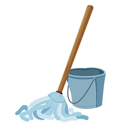 Bucket and mop vector image