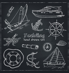 collection of yachting doodle icons vector image