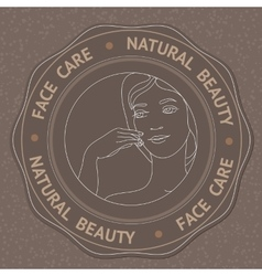 Face hand and text Face Care Natural Beauty vector image