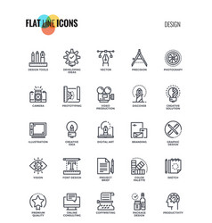 flat line icons design- graphic design vector image vector image