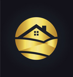 gold home nature landscape logo vector image vector image