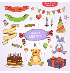 happy birthday set vector image