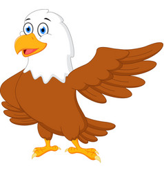 happy eagle cartoon waving vector image vector image