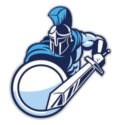 spartan mascot show his big sword vector image vector image