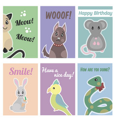 colorful hand drawn pets brochures vector image vector image