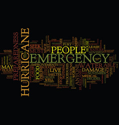 emergency preparedness for a hurricane text vector image vector image