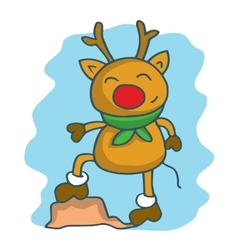Happy deer with scarf character christmas vector