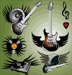 Music label with wings vector image