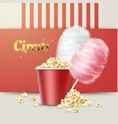 popcorn with cotton candy vector image vector image