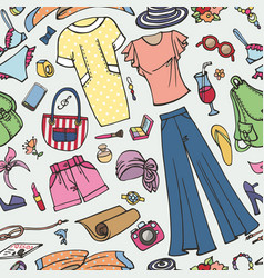 summer fashion seamless patternwoman colored wear vector image vector image